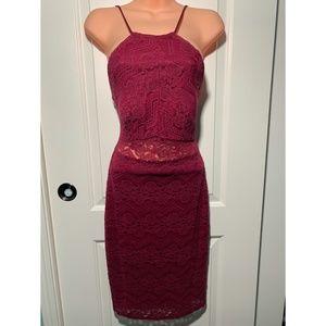 Dresses & Skirts - Burgundy Bodycon Lace Dress